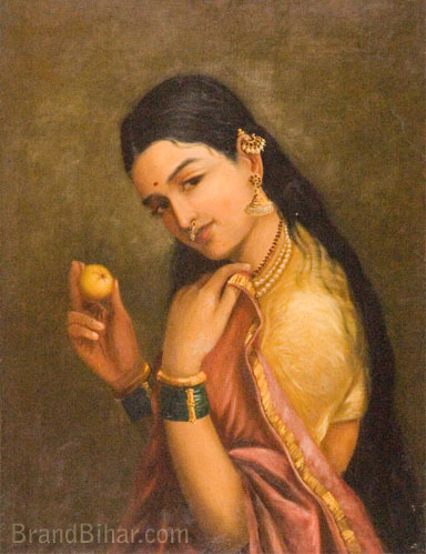Varma, Raja R Women holding a Fruit, Oil on canvas