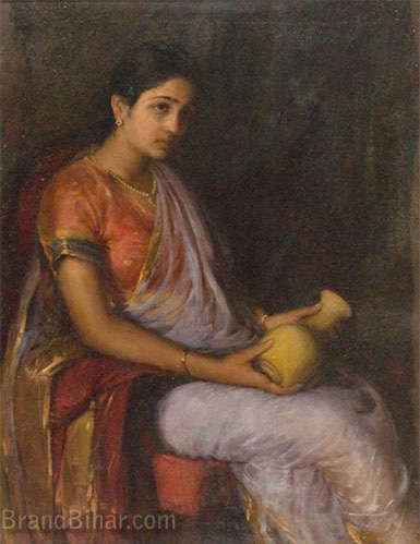Trinidade, A X Girl with a Vase, Oil,