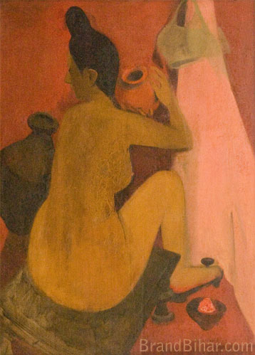 Amrita Sher-Gil Woman at Bath, Oil on canvas