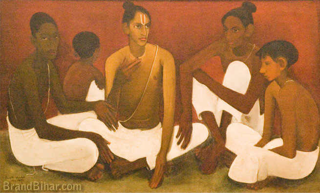 Amrita Sher-Gil Brahmacharis, Oil on canvas
