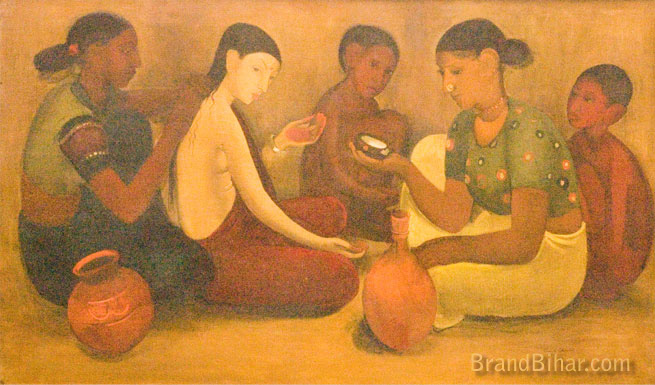 Amrita Sher-Gil Bride's Toilet, Oil on canvas