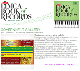 National Record 2012  BrandBihar.com and BrandBharat.com in limca book of records