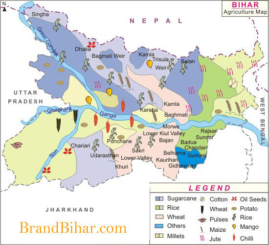 Agriculture Map of Bihar Agriculture Map, Map of Bihar Agriculture Map