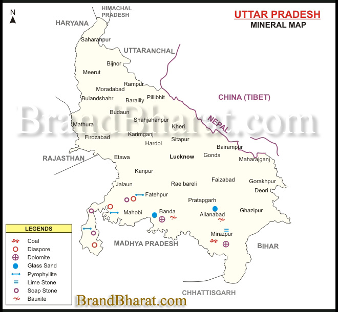 Uttar Pradesh Religious and Tourist Map BrandBharatcom