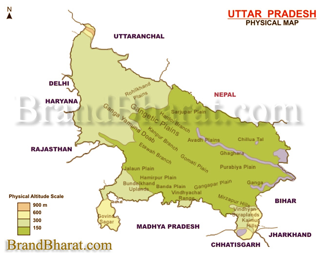 Uttar Pradesh Physical Map BrandBharatcom