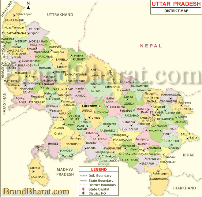 Map Up.Uttar Pradesh Political Map Brandbharat Com