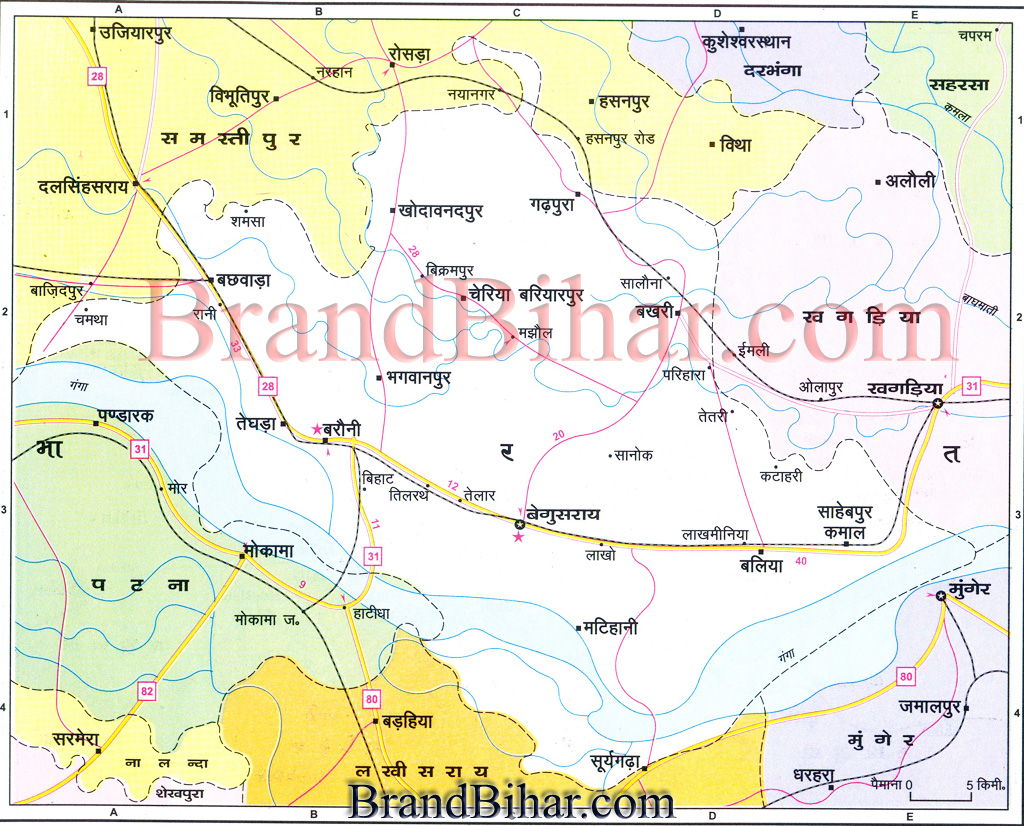 Map of begusarai