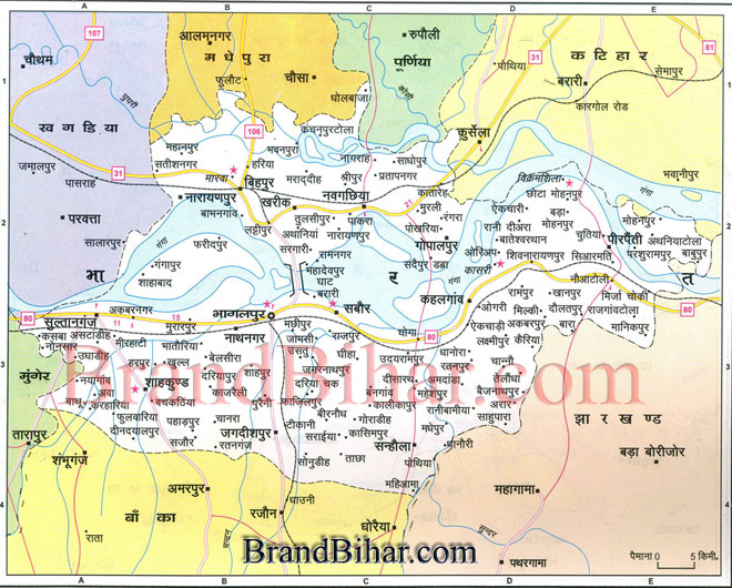 Click on the Map of Bhagalpur to see the largeView of Bhagalpur Map