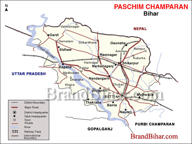 Map of West Champaran Bihar West Champaran District Map