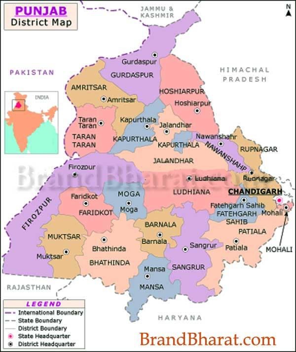 Political Map Of Punjab Punjab Political Map, Punjab State